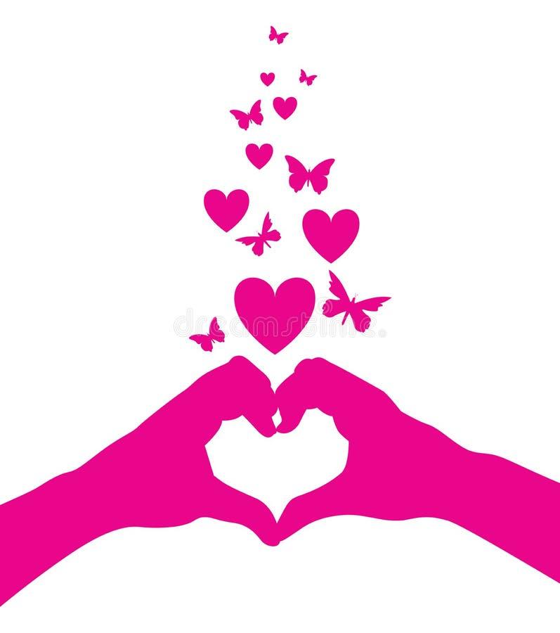 Mãos do coração do amor ilustração royalty free