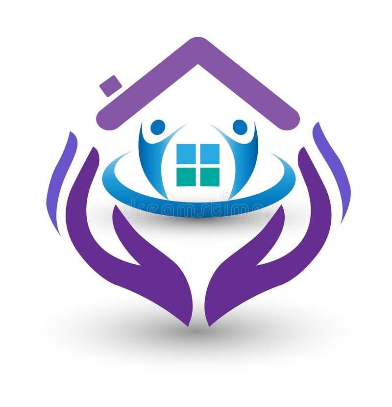 Mãos do cuidado da família e logotipo home ilustração stock