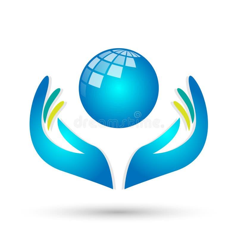 Mãos do cuidado dos povos do mundo das economias do globo que ciao povos para salvar para proteger o vetor do elemento do ícone d ilustração stock