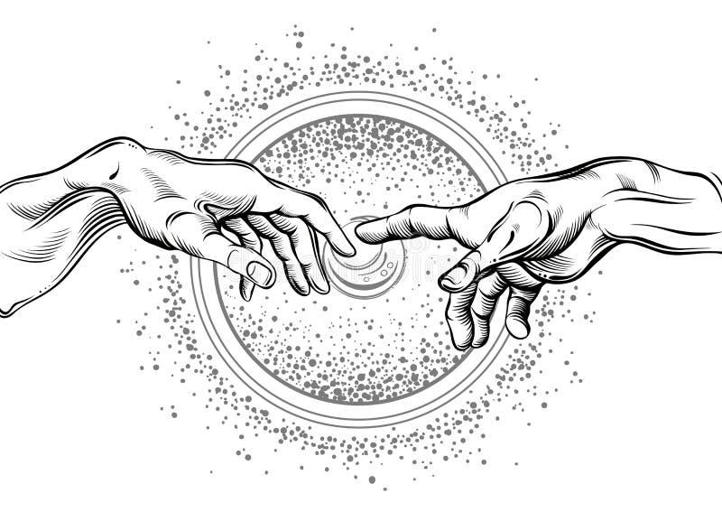 Mãos do deus e do Adams Ilustração moderna do vetor A criação de Adam Filosofia do universo e dos motriz religiosos ilustração royalty free