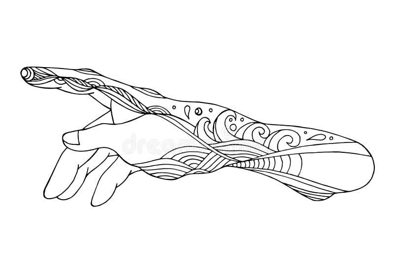 Mãos do deus, ilustração do projeto do desenho da mão do vetor ilustração do vetor