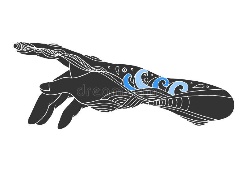 Mãos do deus, ilustração tirada mão do projeto do vetor ilustração royalty free
