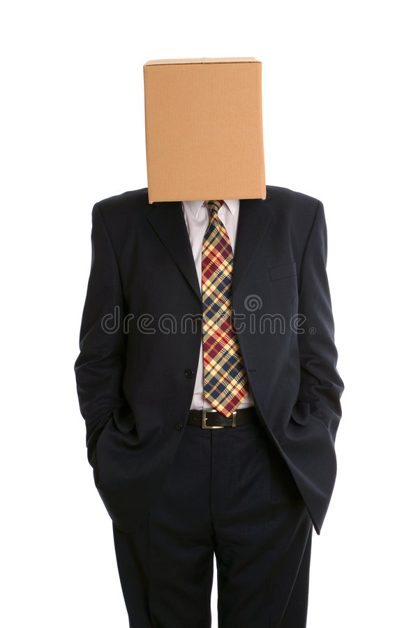 Mãos do homem da caixa em uns bolsos imagem de stock