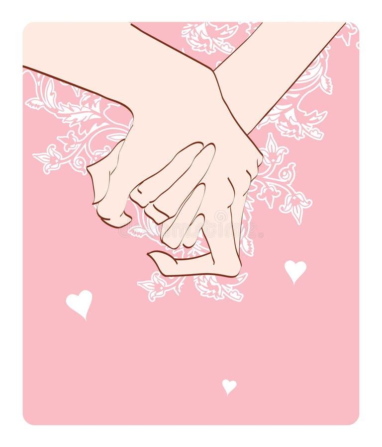 Mãos do homem e da mulher ilustração royalty free
