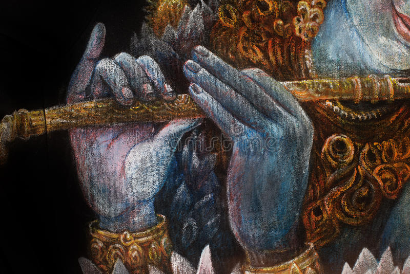 Mãos do krishna do senhor que jogam a flauta, detalhe com teste padrão dos lótus ilustração do vetor