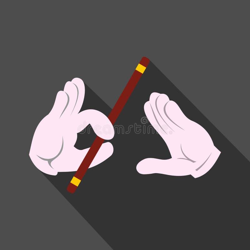 Mãos do mágico com ícone da vara ilustração royalty free