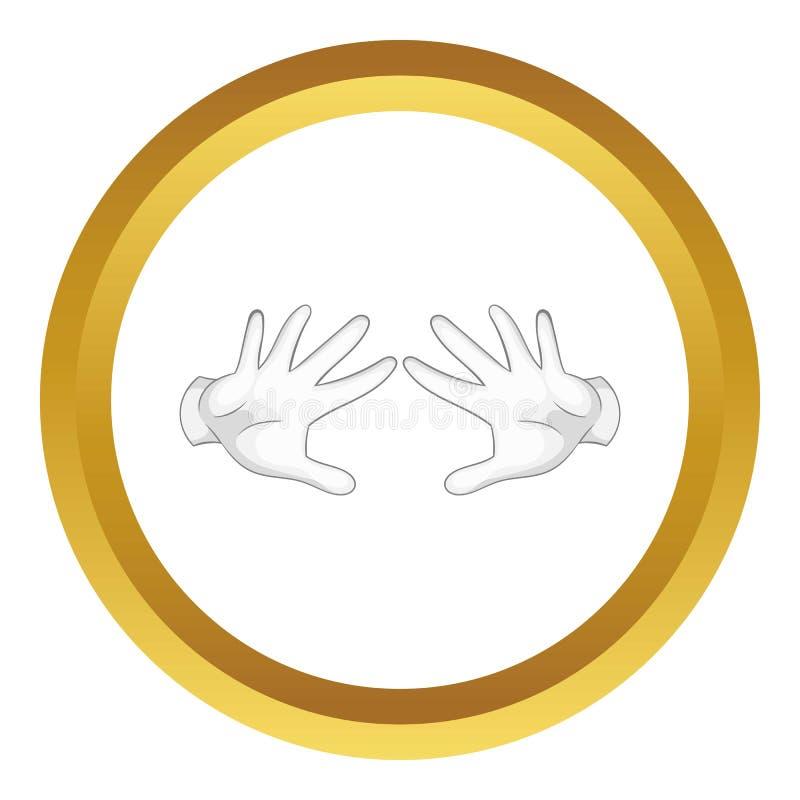 Mãos do mágico no ícone branco das luvas ilustração royalty free