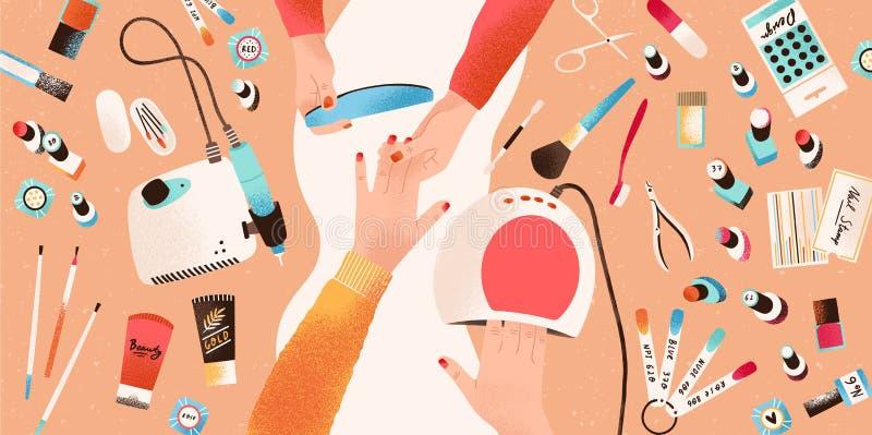 Mãos do manicuro que executam o tratamento de mãos e o seu cliente ou cliente cercados pelas ferramentas e pelos cosméticos para  ilustração do vetor