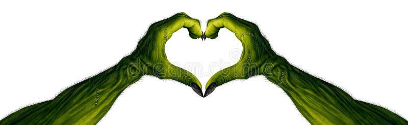 Mãos do monstro em uma forma do coração ilustração do vetor