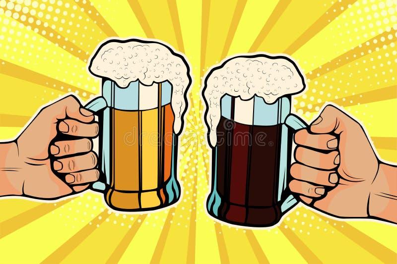 Mãos do pop art com as canecas de cerveja Celebração de Oktoberfest ilustração stock