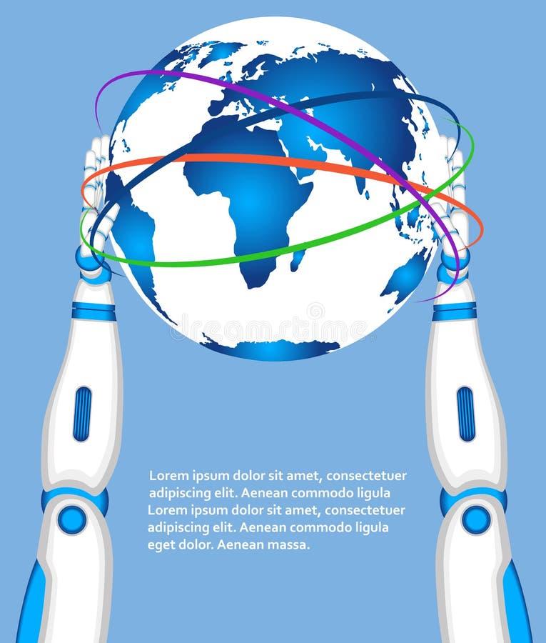 Mãos do robô que guardam o globo do mundo ilustração stock