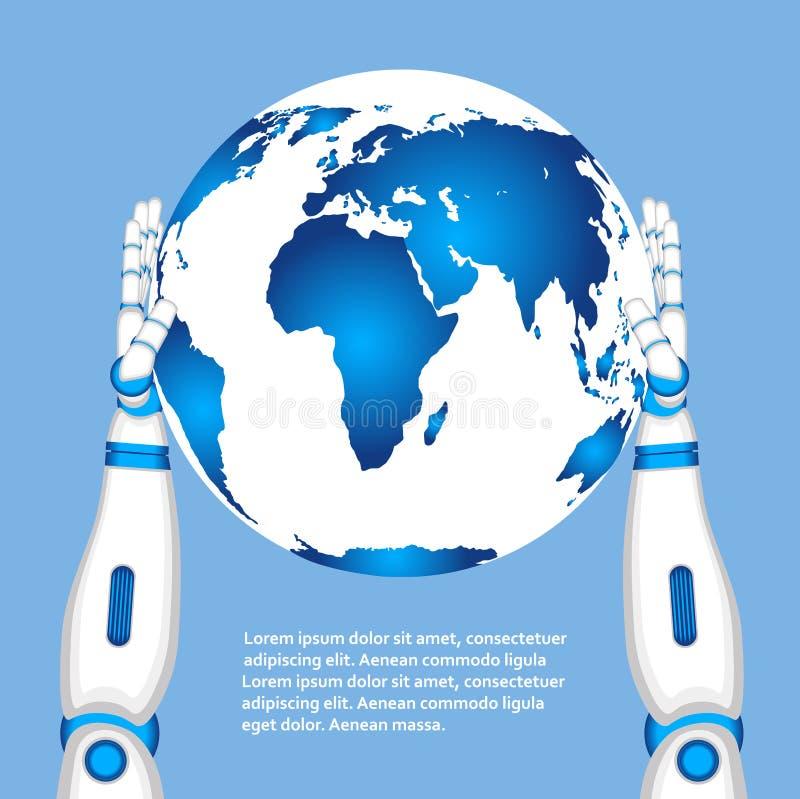 Mãos do robô que guardam o globo do mundo ilustração do vetor