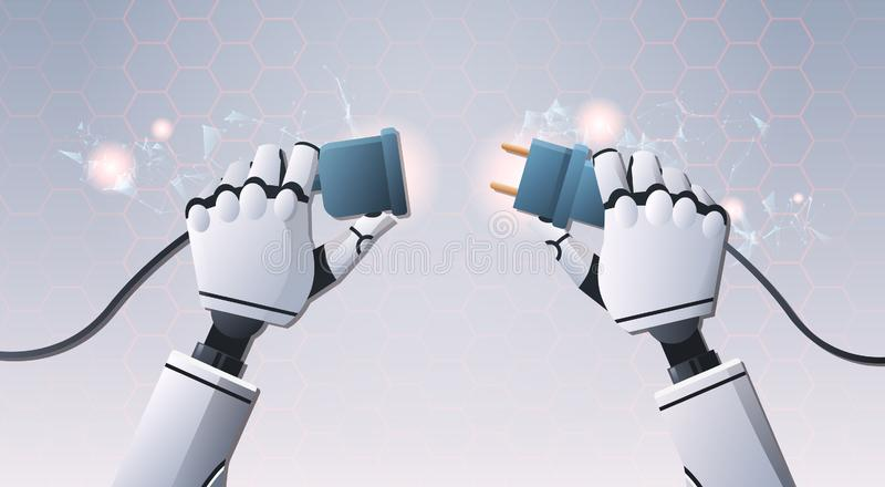 Mãos do robô que introduzem o soquete da tomada dentro pronto para conectar futurista digital da inteligência artificial de opini ilustração do vetor