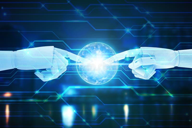 Mãos do robô que tocam no fundo da tecnologia, conceito da tecnologia de inteligência artificial ilustração royalty free