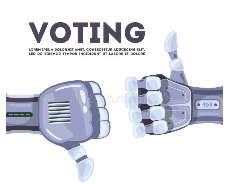 Mãos do robô que votam em uma tecnologia conceptual da ideia Conceito de projeto futurista da inteligência artificial Boa idéia ilustração stock