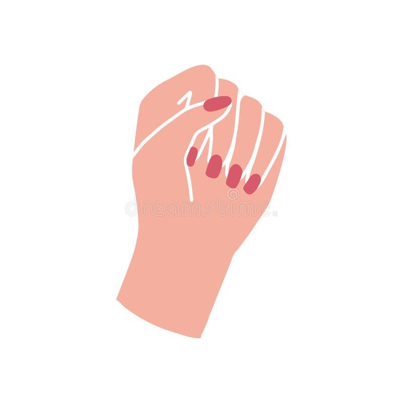 Mãos do ` s da mulher Poder da menina Conceito do feminismo ilustração royalty free