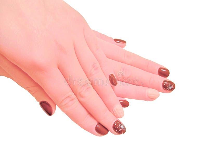 Mãos do ` s das mulheres com tratamento de mãos fotografia de stock