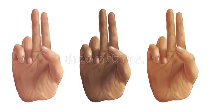 Mãos do sinal de paz - ilustração digital imagens de stock