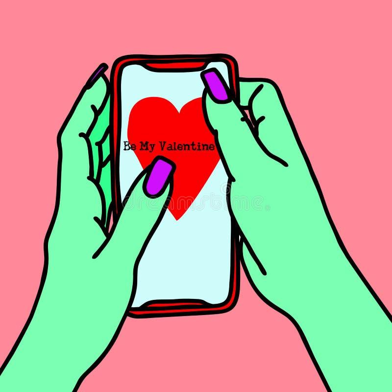 Mãos do zombi com os pregos longos que guardam o smartphone Mulher com as mãos verdes que texting o esboço A menina envia mensage ilustração stock