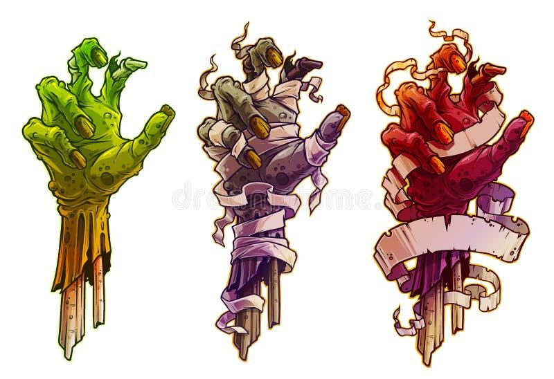 Mãos do zombi do Dia das Bruxas dos desenhos animados com atadura ilustração do vetor