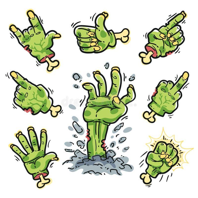 Mãos do zombi dos desenhos animados ajustadas para o projeto do horror ilustração do vetor