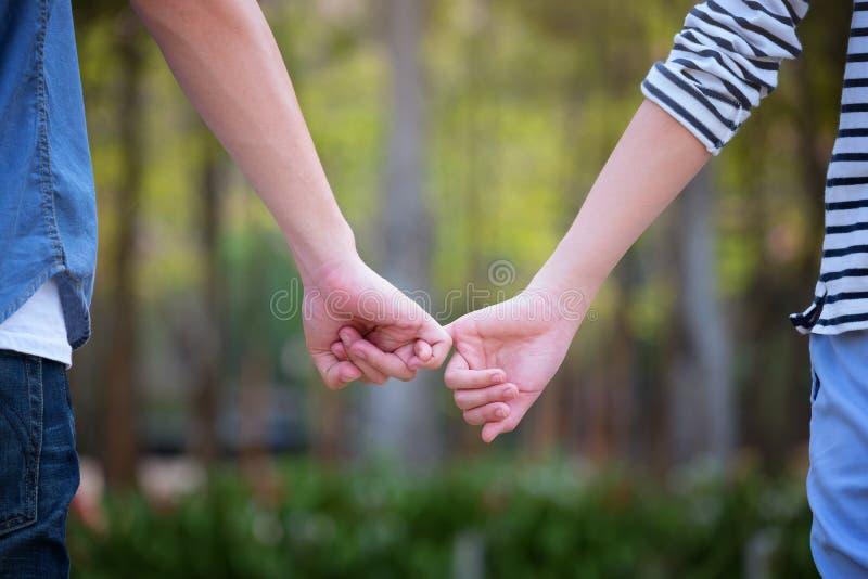 Mãos dos amantes Foco seletivo, símbolos do amor Showin dos pares imagens de stock royalty free