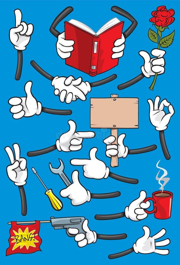 Mãos dos desenhos animados ilustração stock