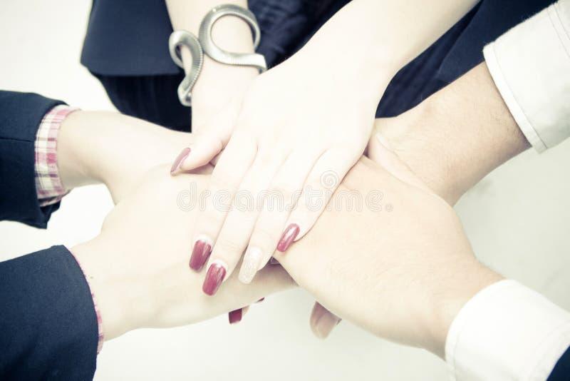 Mãos dos empresários que empilham junto sobre o fundo branco fotografia de stock