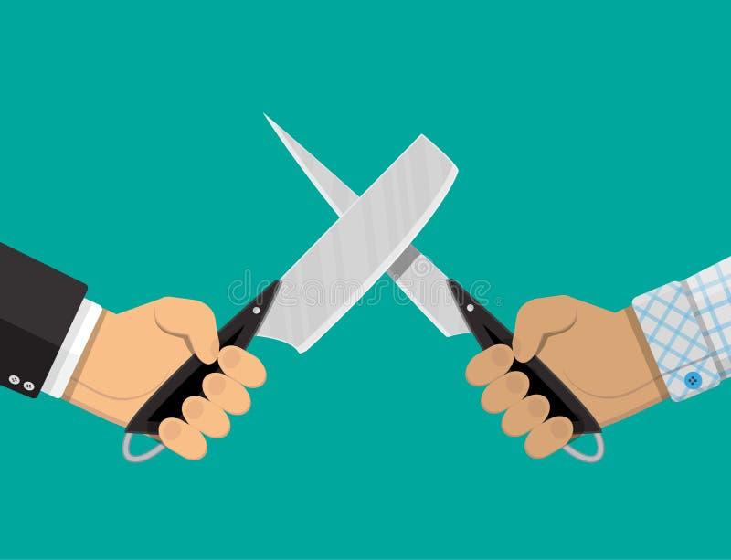 Mãos dos homens de negócios com facas ilustração royalty free