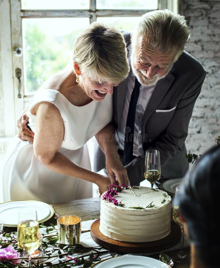 Mãos dos pares do recém-casado que cortam o bolo junto fotografia de stock