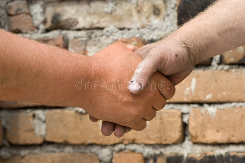 Mãos dos pedreiros fotos de stock
