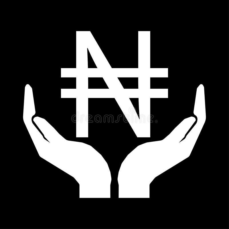 Mãos e branco NIGERIANO do sinal do NAIRA da moeda do dinheiro no fundo preto ilustração do vetor