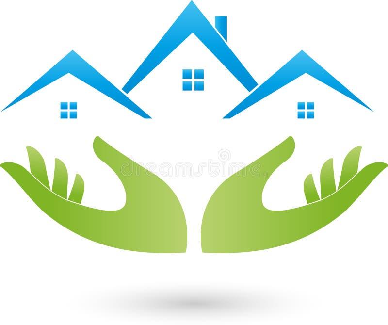 Mãos e casas, telhados, logotipo dos bens imobiliários ilustração royalty free