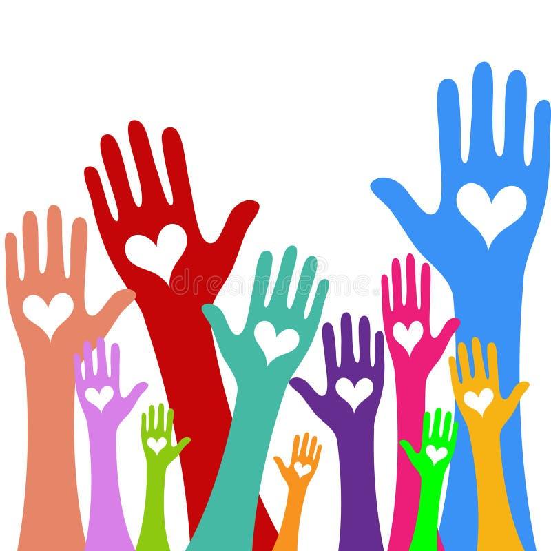Mãos e conceito do doador da doação do coração Ícone do dia de são valentim da bondade e do vetor da caridade ilustração do vetor