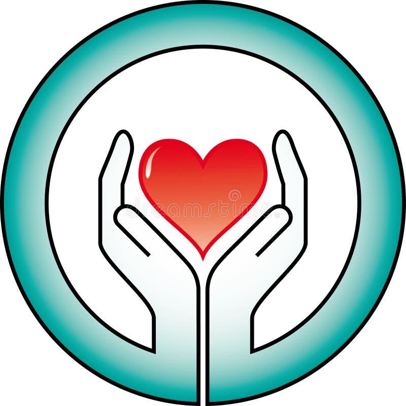 Mãos e coração ilustração royalty free