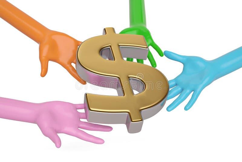 Mãos e dólares do símbolo no fundo branco ilustração 3D ilustração do vetor