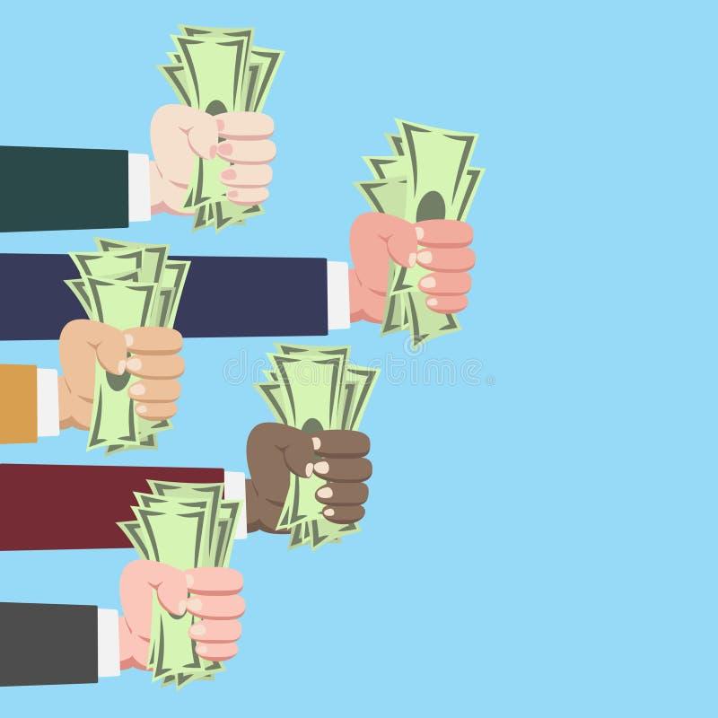 Mãos e dinheiro ilustração royalty free