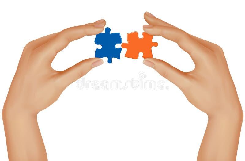 Mãos e enigma. Conceito do negócio. Vetor ilustração stock
