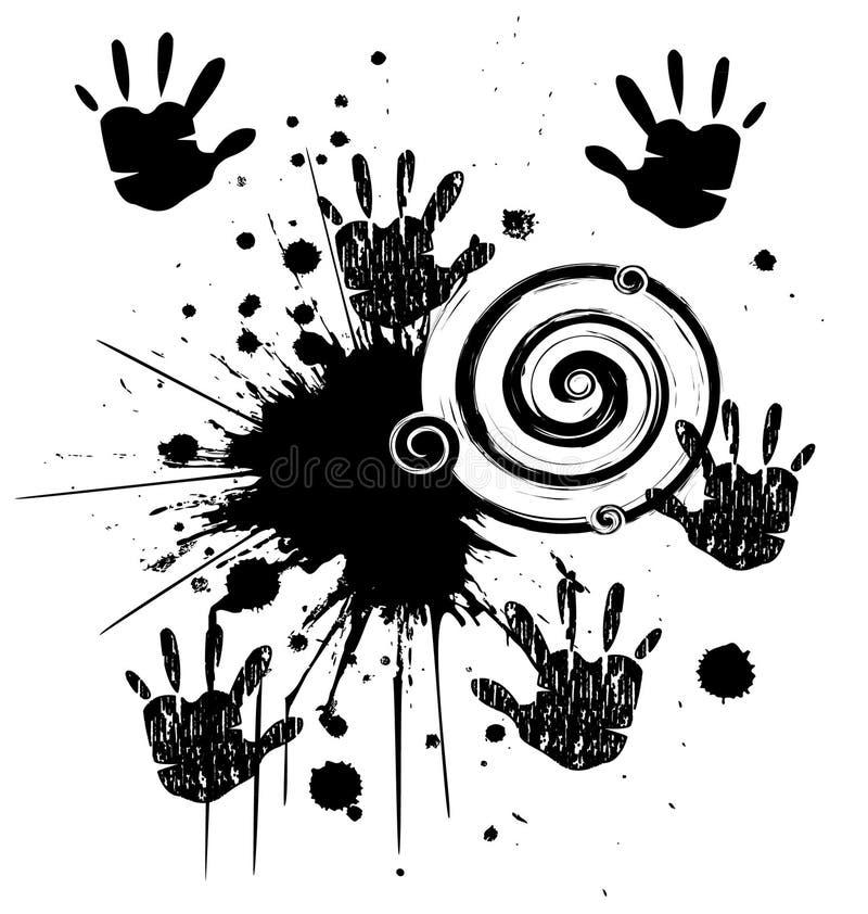 Mãos e estilo do grunge da tinta ilustração royalty free