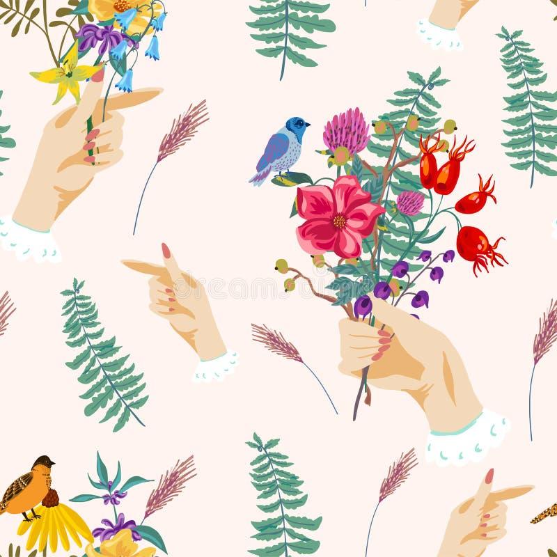 Mãos e flores Teste padrão sem emenda do verão do vetor do vintage ilustração stock