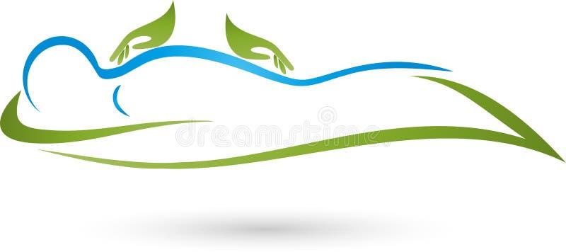 Mãos e humano, naturopath e logotipo da fisioterapia ilustração do vetor