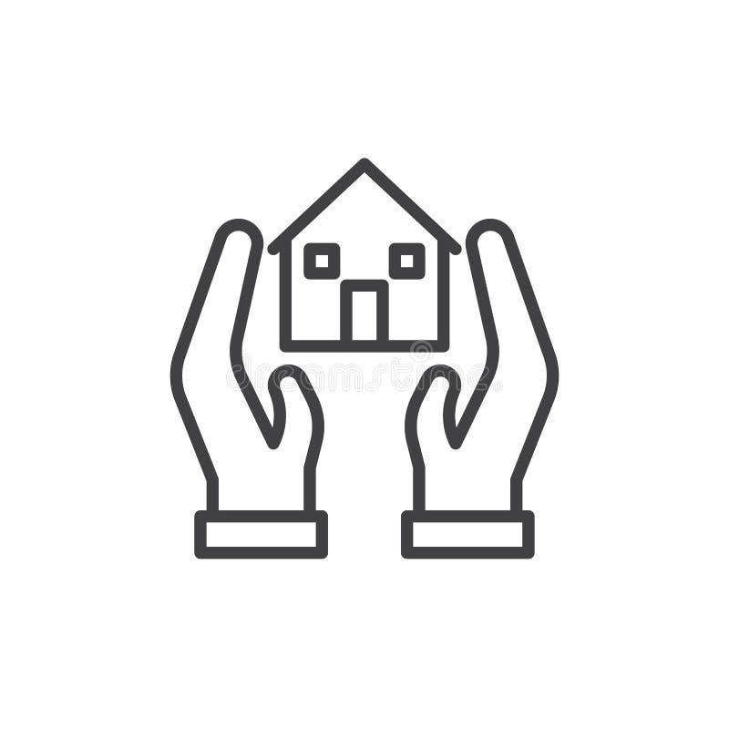 Mãos e linha ícone da casa ilustração royalty free