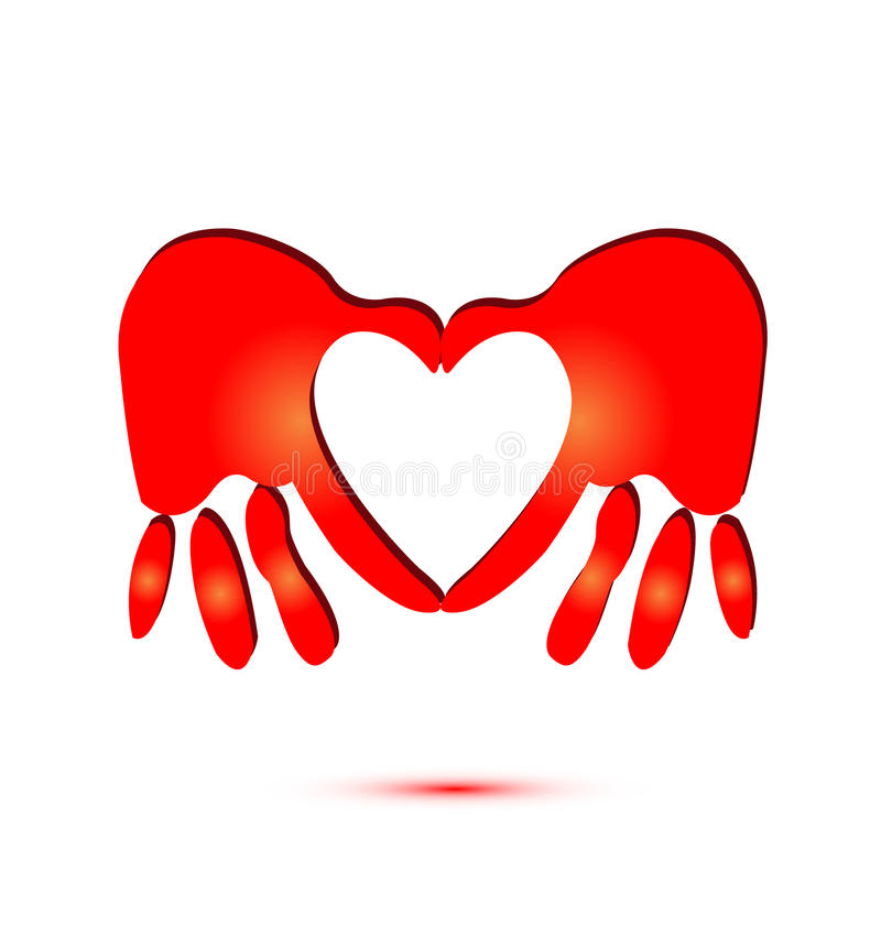Mãos e logotipo do símbolo do coração ilustração royalty free