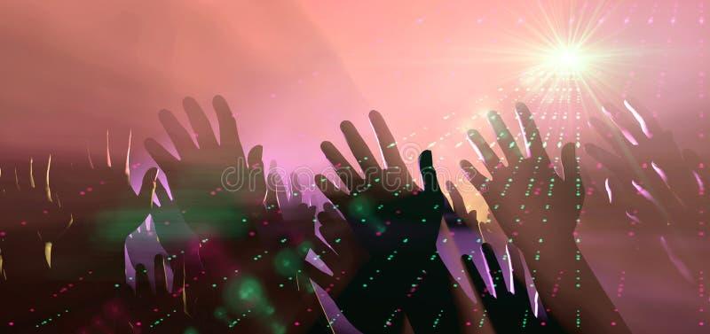Mãos e luzes da audiência no concerto ilustração stock