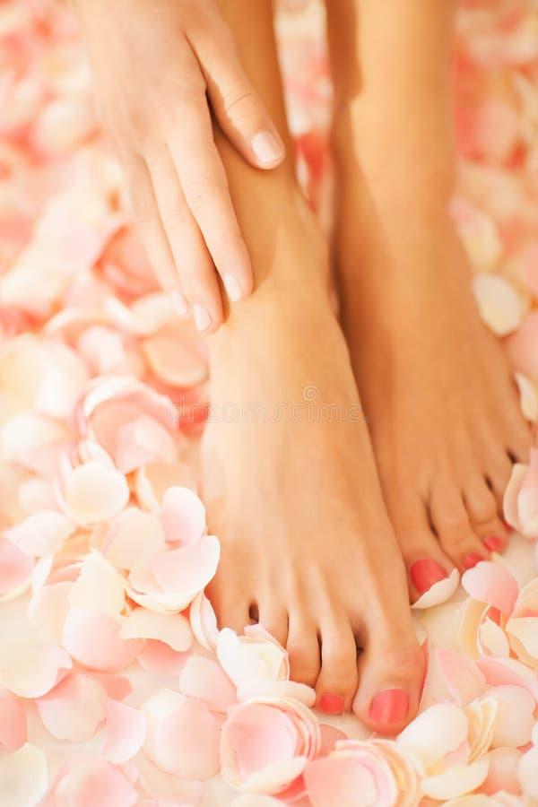 Mãos e pés fêmeas imagens de stock