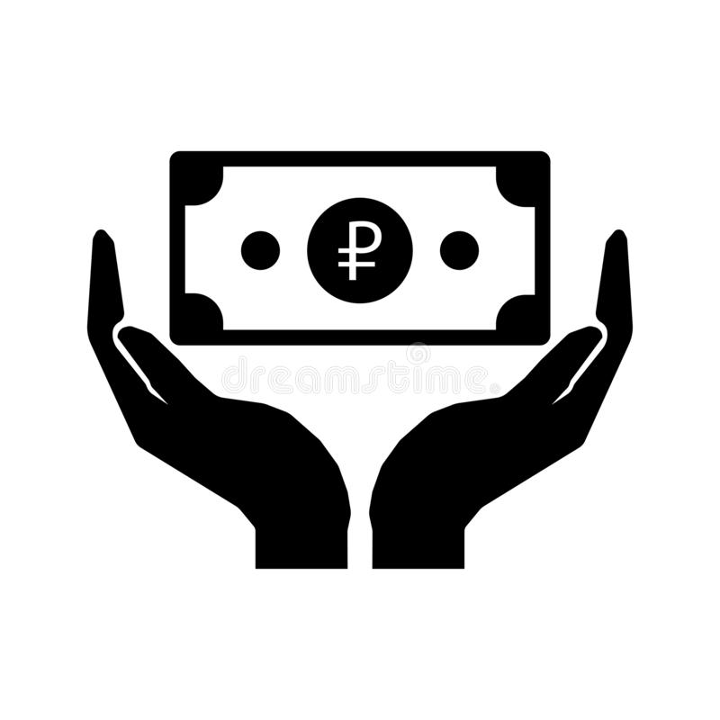 Mãos e papel moeda ruble Ciao o sinal do dinheiro - eps10 ilustração do vetor