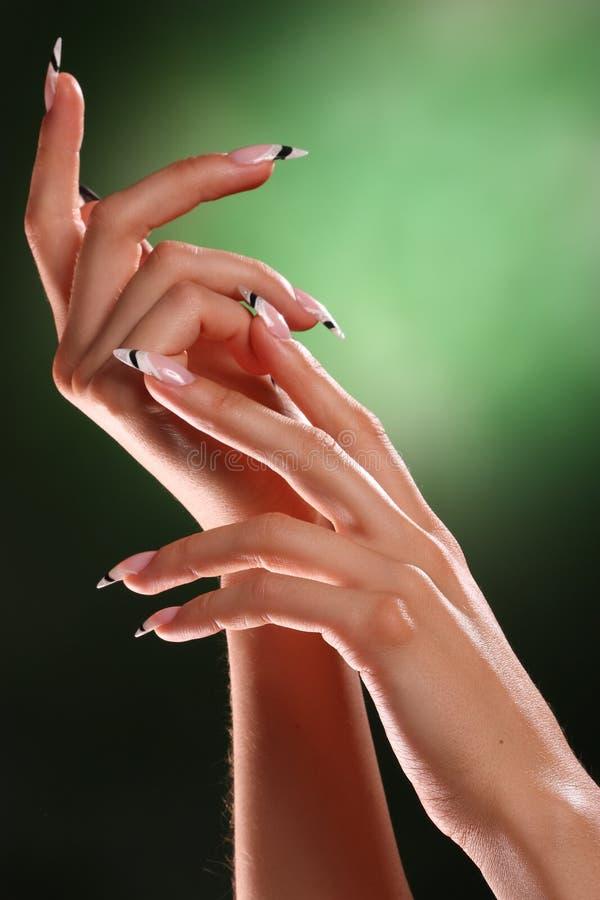 Mãos e pregos bonitos fotografia de stock royalty free