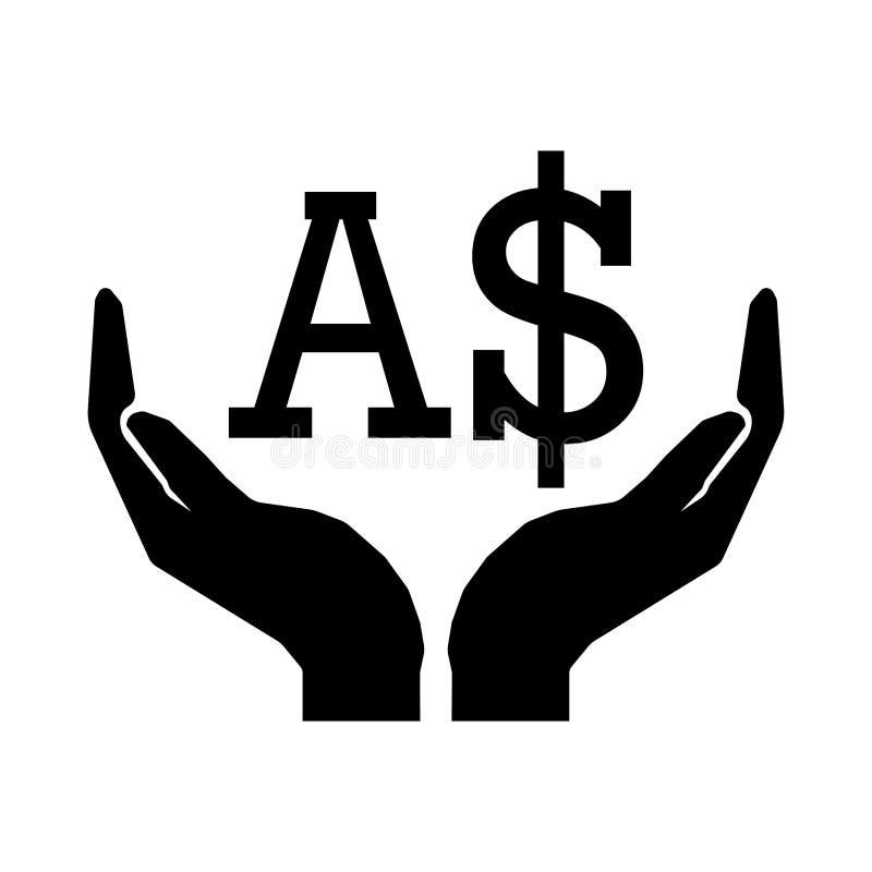 Mãos e sinal de DÓLAR de AUSTRÁLIA da moeda do dinheiro ilustração royalty free