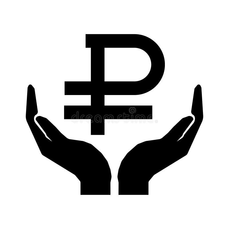 Mãos e sinal do dinheiro Rublo de russo Ciao o sinal eps dez do dinheiro ilustração royalty free
