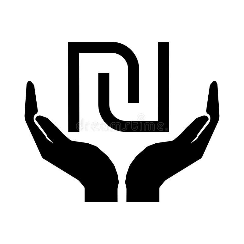 Mãos e sinal NOVO eps dez de ISRAEL SHEQEL da moeda do dinheiro ilustração royalty free